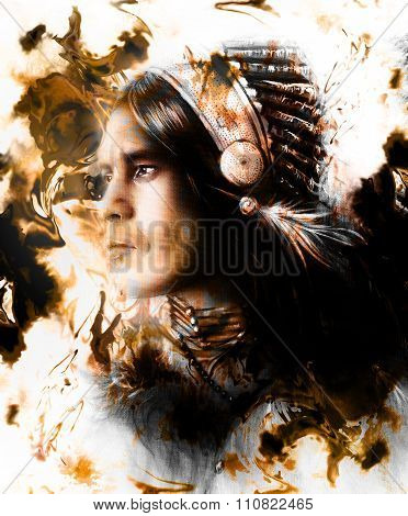 beautiful painting of a young indian warrior wearing a gorgeous feather headdress, profile portrait,