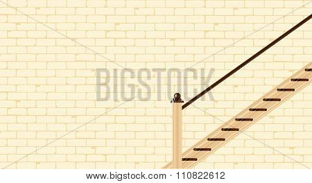 Stairs Against A Brick Wall