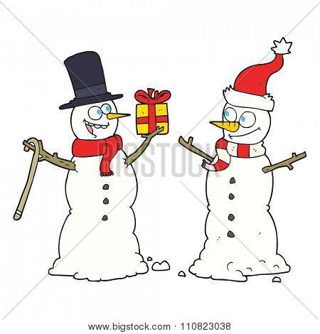 freehand drawn cartoon snowmen exchanging gifts