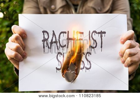 Woman Is Holding Burning Paper