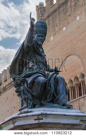 Statue Of Pope Paul V On Cavour Square In Rimini, Italy