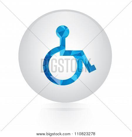 Vector - abstract blue Disabled sign icon. circular button
