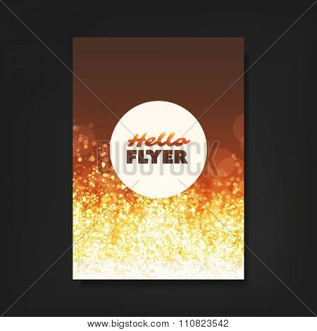 Hello Flyer - Flyer, Card or Cover Design with Gold Sparkling Patter Background - Party, Corporate Identity, Christmas, New Year or Ad Design Template