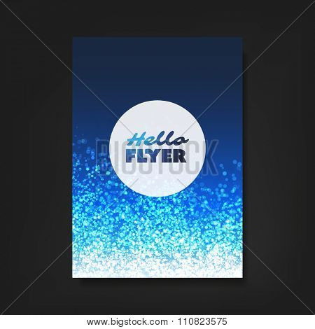Hello Flyer - Flyer, Card or Cover Design with Blue Sparkling Patter Background - Party, Corporate Identity, Christmas, New Year or Ad Design Template