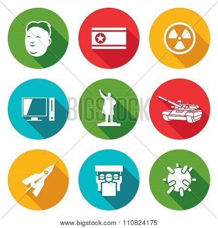 North Korea Icons Set. Vector Illustration.