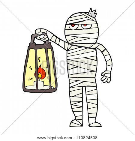 freehand drawn cartoon mummy