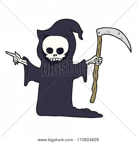 freehand drawn cartoon death with scythe