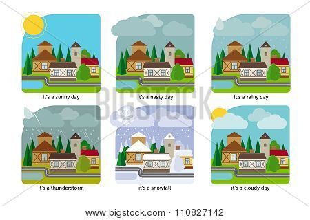 Different weather in the town illustrations