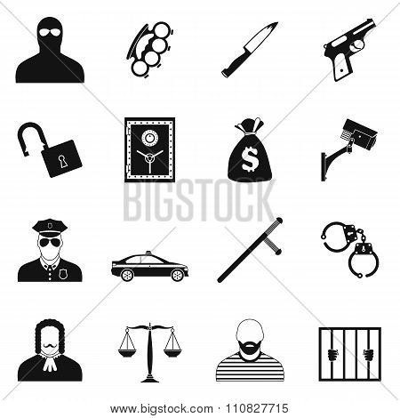 Crime simple icons