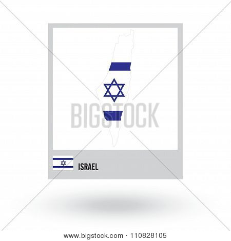 Map of Israel with national flag. vector EPS10.