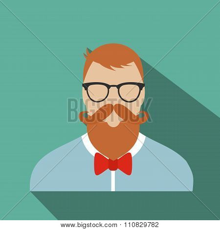 Hipster flat character