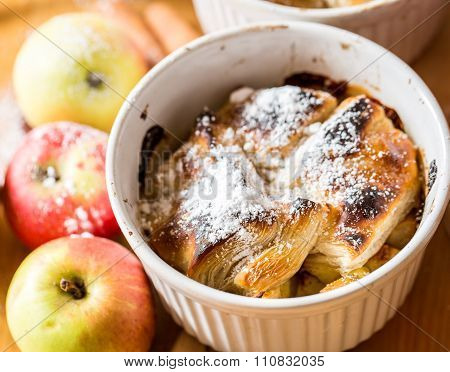 Apple Strudel On Wooden Background