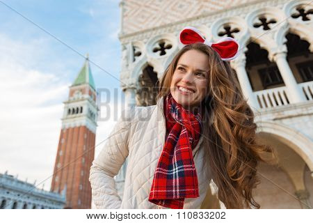 Happy Woman Tourist Spending Christmas Holidays In Venice, Italy