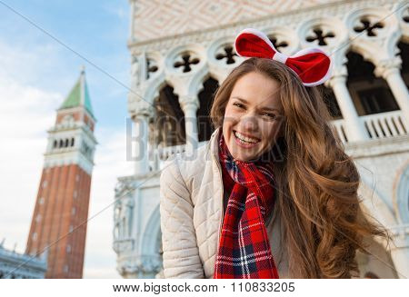 Woman Tourist Spending Christmas On Piazza San Marco In Venice