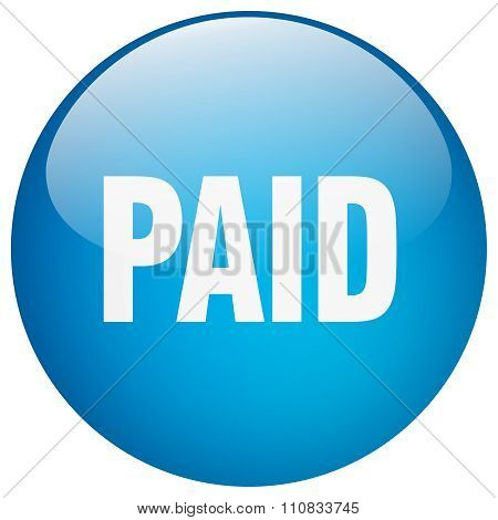 Paid Blue Round Gel Isolated Push Button