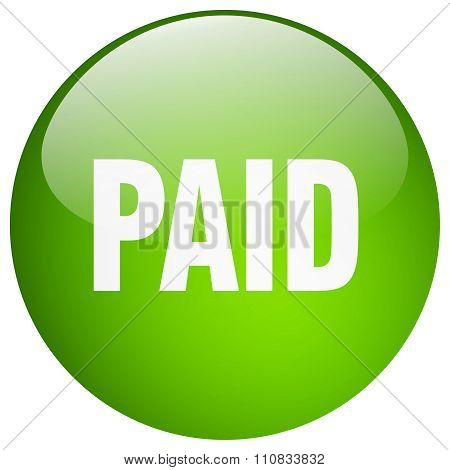 Paid Green Round Gel Isolated Push Button