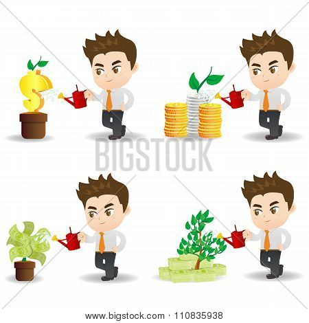 Cartoon Businessman With Money Tree