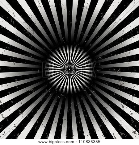 Geometric optical illusion black and white circle with rays isolated on a white background. Vector i