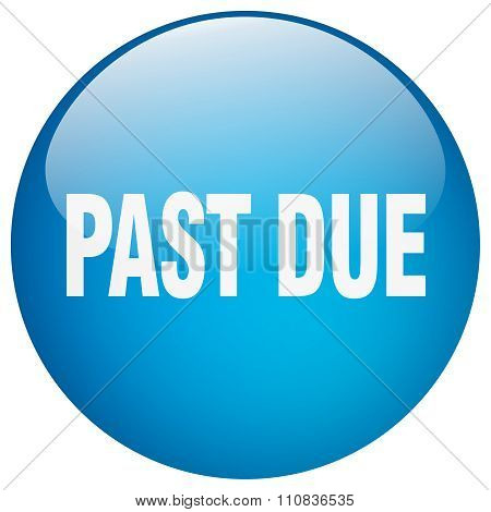 Past Due Blue Round Gel Isolated Push Button