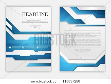 Abstract blue geometric tech flyer design. Vector background