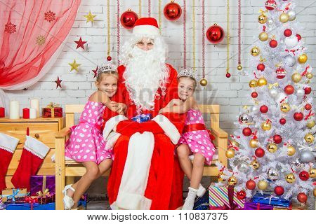 Children Hugging Awaited Grandfather Frost