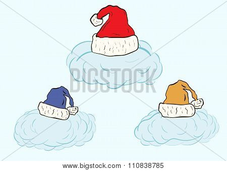 Clouds in Christmas caps