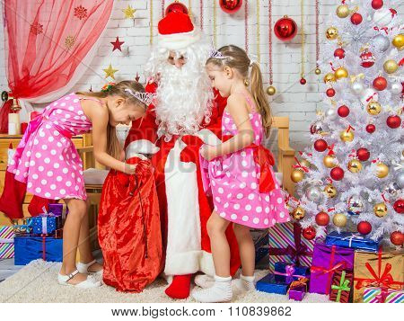 Santa Claus Brought Gifts To Two Girls Sisters