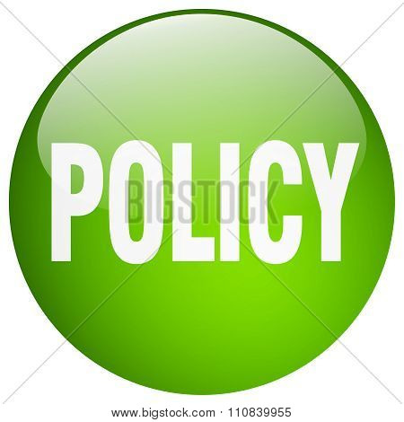 Policy Green Round Gel Isolated Push Button