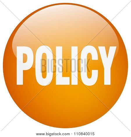 Policy Orange Round Gel Isolated Push Button