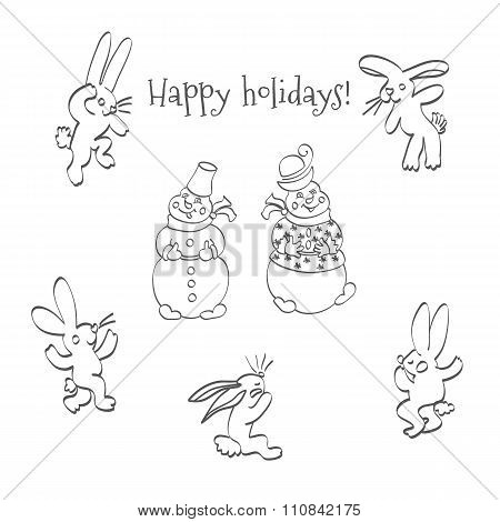 cartoon hares and snowmen