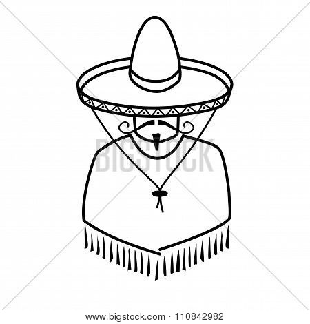 Illustration Of Mexican In Sombrero
