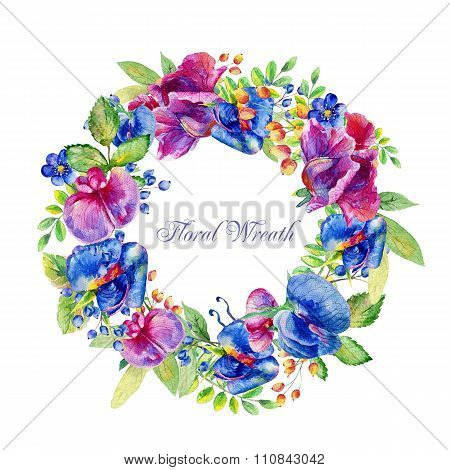 Round Frame Of Watercolor Blue, Pink Sweet Peas And Some Leaves, Berries.