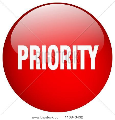 Priority Red Round Gel Isolated Push Button