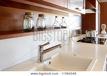 Red Wood Kitchen White Kitchen Bench