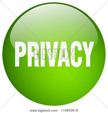 Privacy Green Round Gel Isolated Push Button