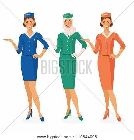 Set of air hostesses