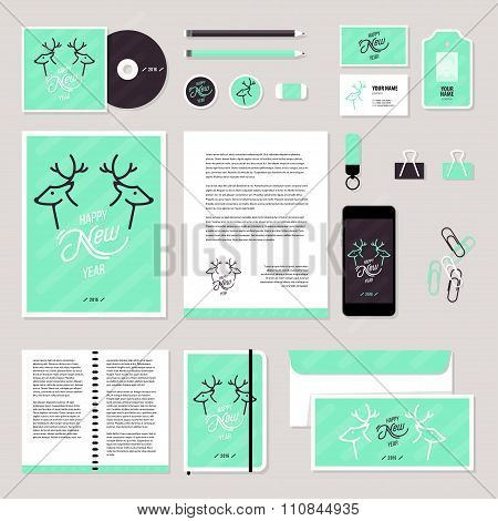 Vector stationery template design with christmass deer and calligraphy elements.