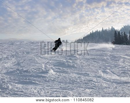 Skier On The Ski Piste