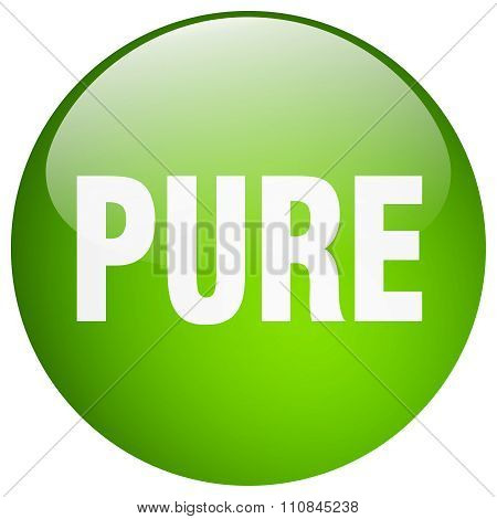 Pure Green Round Gel Isolated Push Button