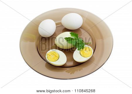 Several Boiled Eggs On Glass Dish