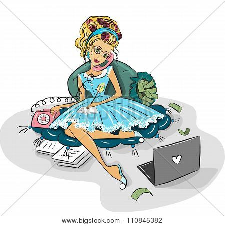 Business woman working at home via the Internet.