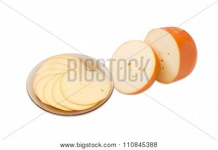 Two Pieces Of Cheese And Slised Cheese
