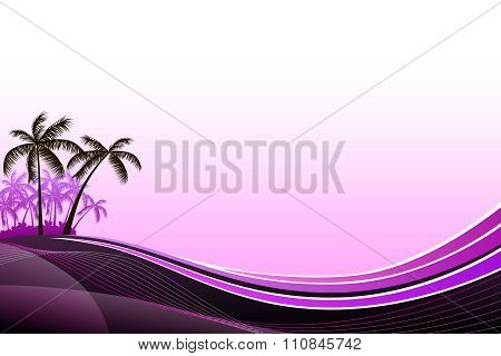 Abstract background sea coast palms pink evening sunset illustration vector