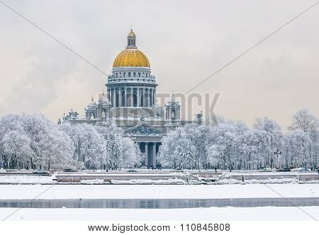 Saint Isaac's Cathedral In Winter, Saint Petersburg, Russia