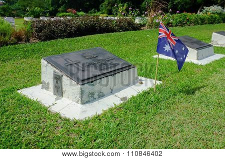 Veterans cemetery in Rememberance Day with Australia Flag.