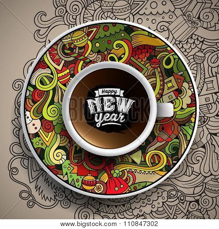 Vector illustration with a Cup of coffee and hand drawn New Year