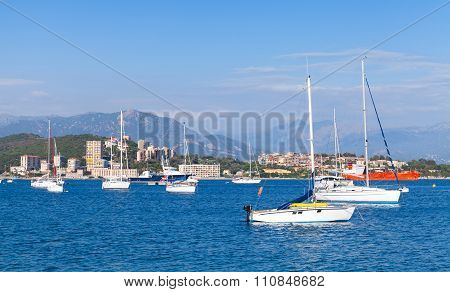 Sailing Yachts And Pleasure Motorboats Moored