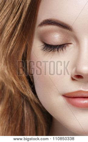 Eyes Woman Closed Eyebrow Eyes Lashes Half-face Lips Nose