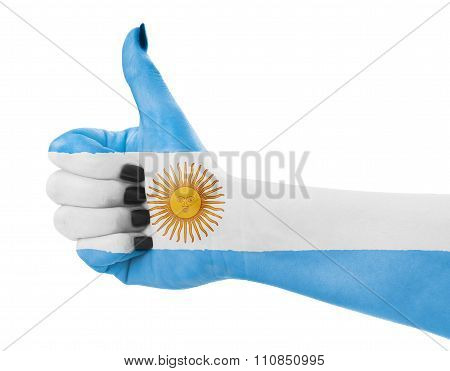 Flag Of Argentina On Hand