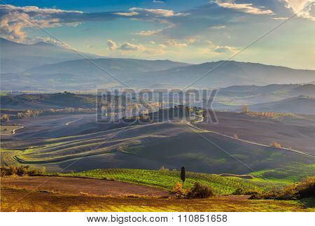 Panoramic view of Beautiful Valley in the morning landscape, big size, Tuscany, Italy, Europe